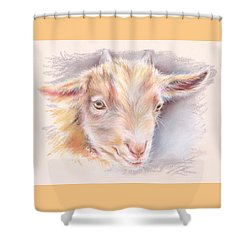 Happy Little Goat Shower Curtain by MM Anderson