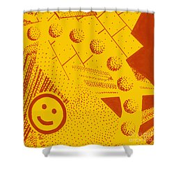 Shower Curtain featuring the painting Happy by Maria Langgle