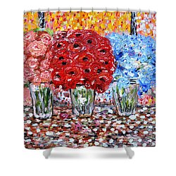 Shower Curtain featuring the painting Happy Morning by Evelina Popilian