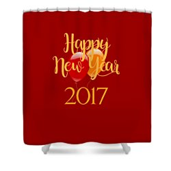 Shower Curtain featuring the digital art Happy New Year 2017 With Balloons by Heidi Hermes