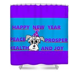 Happy New Year Shower Curtain by Linda Velasquez