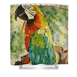 Shower Curtain featuring the painting Happy Parrot by Maria Langgle