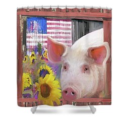 Happy Pig  Shower Curtain