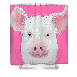 Happy Pig Portrait Shower Curtain by Jan Matson