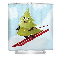 Happy Pine Tree On Ski Shower Curtain