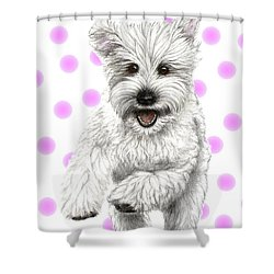 Shower Curtain featuring the drawing Happy Pink Polka Dots Doggy  by Heidi Kriel