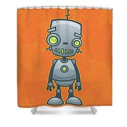 Happy Robot Shower Curtain by John Schwegel