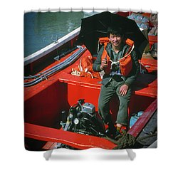 Shower Curtain featuring the photograph Happy Sailor In Orange Lifeboat by Samuel M Purvis III