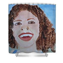 Shower Curtain featuring the painting Happy by Sandy McIntire