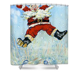 Happy Santa  Shower Curtain by David Cooke