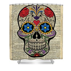 Happy Skull,sugar Skull,dia De Los Muertos,halloween Artwork Shower Curtain