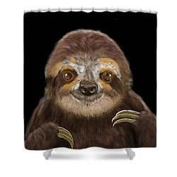 Shower Curtain featuring the mixed media Happy Three Toe Sloth by Thomas J Herring
