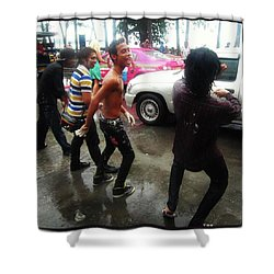Shower Curtain featuring the photograph Happy Songkran. The Water Splashing by Mr Photojimsf