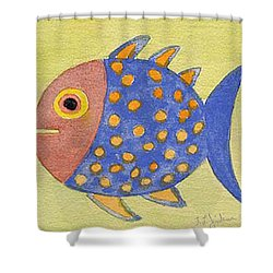 Happy Speckled Fish Shower Curtain by Fred Jinkins