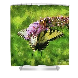 Happy Swallowtail Butterfly Shower Curtain