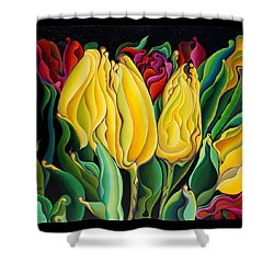Happy-time Yellow Three-lips Shower Curtain