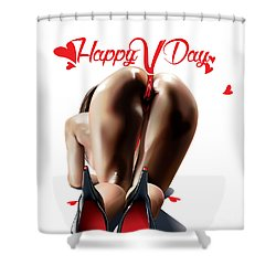 Happy Vagina Day Or Valentines Xox Shower Curtain