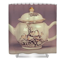 Happy Valentines Day Lovers Tea Pot Shower Curtain