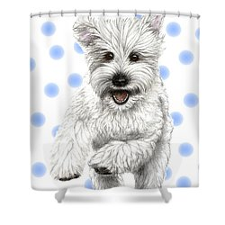 Shower Curtain featuring the drawing Happy Blue Polka Dots Doggy by Heidi Kriel