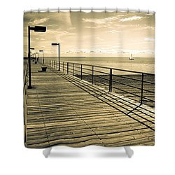 Harbor Beach Michigan Boardwalk Shower Curtain
