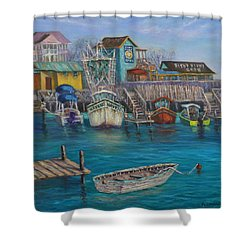 Harbor Boats Coastal Painting Of Southport North Carolina Shower Curtain