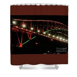 Shower Curtain featuring the photograph Harbor Bridge Green And Red By Kaye Menner by Kaye Menner