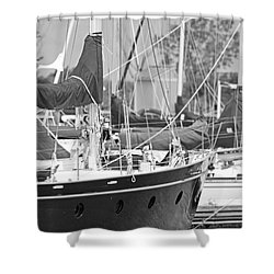 Harbor In Black And White Shower Curtain