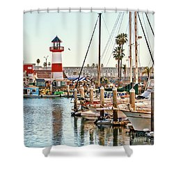 Harbor Lighthouse Oceanside Shower Curtain