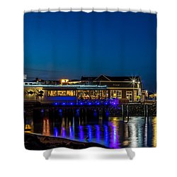 Harbor Lights During Blue Hour Shower Curtain