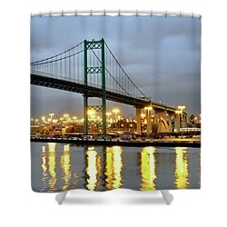 Harbor Lights In San Pedro Shower Curtain by Kirsten Giving