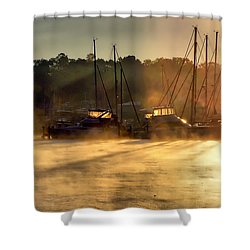 Shower Curtain featuring the photograph Harbor Mist by Brian Wallace