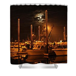 Harbor Moon Shower Curtain by Rick  Monyahan