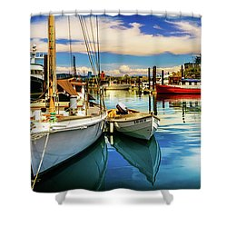 Shower Curtain featuring the photograph Harbor On Guemes Channel by TL  Mair