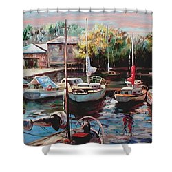 Harbor Sailboats At Rest Shower Curtain
