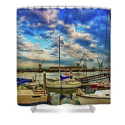 Harbor Scene Shower Curtain by Joseph Hollingsworth