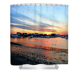 Harbor Sunset At Low Tide Shower Curtain