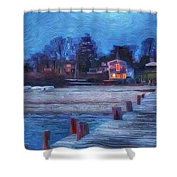 Harbormasters Office Owen Park Shower Curtain