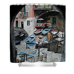 Harbor's Edge In Riomaggiore Shower Curtain by Charlotte Blanchard