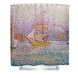 Harbour At Marseilles Shower Curtain by Paul Signac