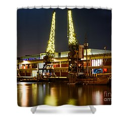 Shower Curtain featuring the photograph Harbour Cranes by Colin Rayner