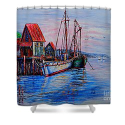 Harbour Shower Curtain by Viktor Lazarev