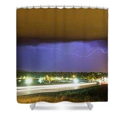 Hard Rain  Lightning Thunderstorm Over Loveland Colorado Shower Curtain by James BO  Insogna
