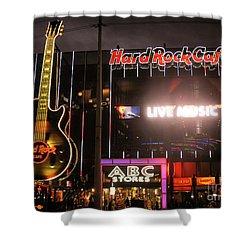 Hard Rock Cafe Las Vegas Strip At Night Shower Curtain by RicardMN Photography