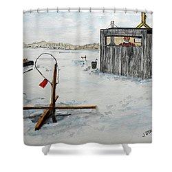 Hard Water Fishing Shower Curtain
