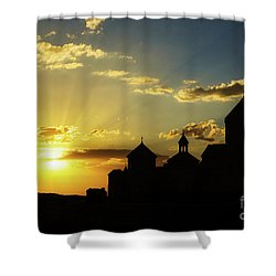 Harichavank Monastery At Sunset, Armenia Shower Curtain by Gurgen Bakhshetsyan