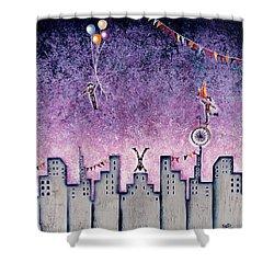 Harlequins Festival Shower Curtain by Graciela Bello