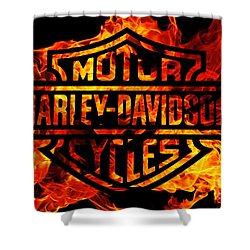 Harley Davidson Logo Flames Shower Curtain by Randy Steele