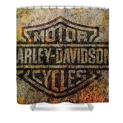Harley Davidson Logo Grunge Metal Shower Curtain