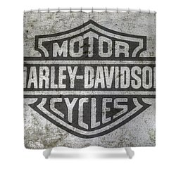 Harley Davidson Logo On Metal Shower Curtain by Randy Steele