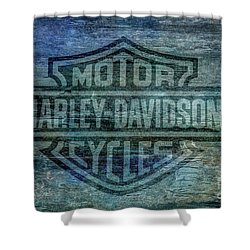 Harley Davidson Logo Weathered Wood Shower Curtain by Randy Steele